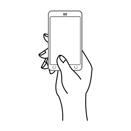 Hand and mobile phone. Man is holding smartphone. Technological template Illustration