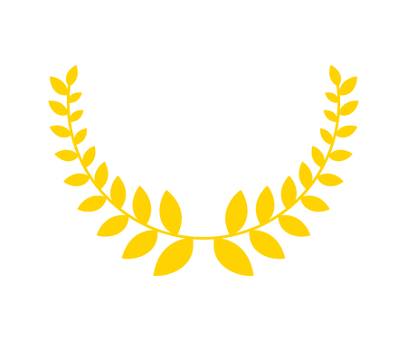 Olive branch is golden wreath. Symbol of victory. Accessory for winner