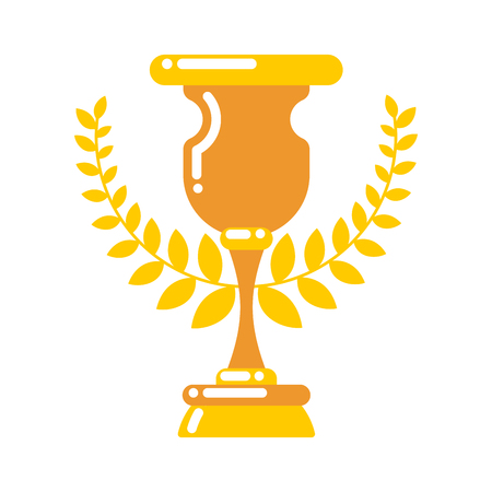 Winner cup gold. Prize of championship. Tournament award on white background Illustration