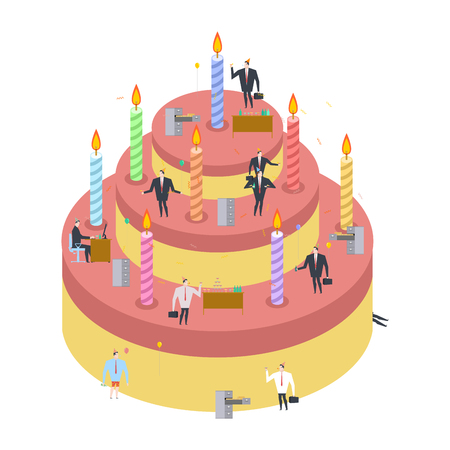 birthday party: Office party. Cake and managers. Holiday at work. Businessman on feast. Celebratory cap and Party horn. balloon and bottle of alcohol. Manager drunk. Birthday at job