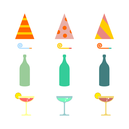 Party set. Celebratory cap and Party horn. alcohol cocktail Illustration
