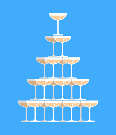 Glass of champagne tower. Alcohol in glass belfry. Wine pyramid. Cocktail hill
