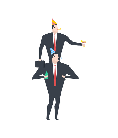 birthday party: Businessman at party. Celebratory cap and Party horn. alcohol. Manager drunk Illustration