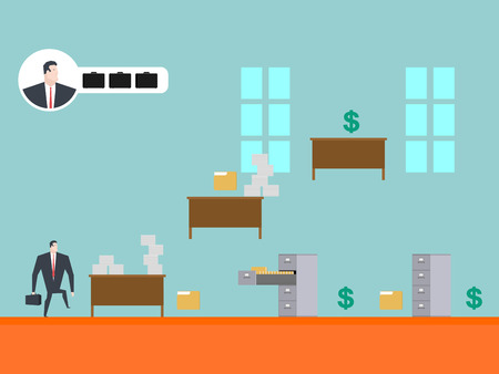 gamepad: Business game play. Businessman in office. Card index and dollar