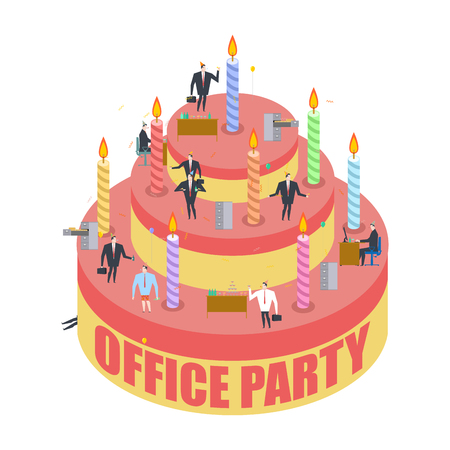 christmas cake: Office party. Cake and managers. Holiday at work. Businessman on feast. Celebratory cap and Party horn. balloon and bottle of alcohol. Manager drunk. Birthday at job
