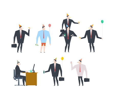 adult birthday party: Businessman at party set. Celebratory cap and Party horn. balloon and alcohol. Manager drunk Illustration
