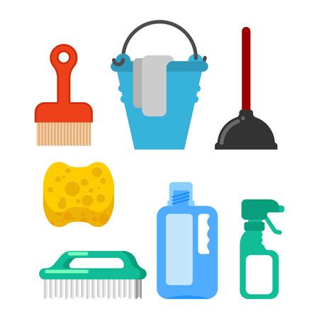 Accessoire de nettoyage. Brosse de lavage et plongeur. Seau et nappe de sol. Éponge et pulvérisateur. Outils de nettoyage