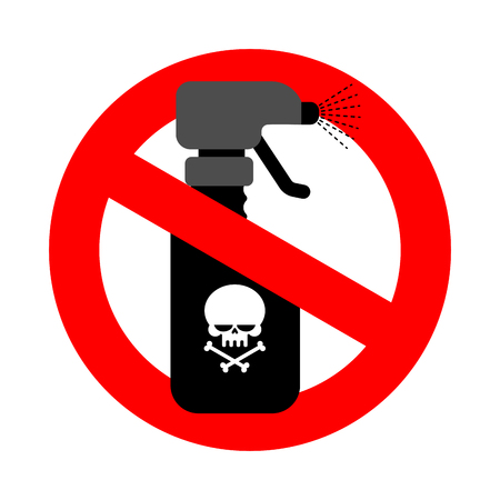 Stop spraying poison. red road sign is prohibited. Ban spray with poison Ilustração
