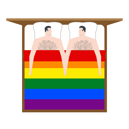Gays in bed. Lovers men are in under  blanket. Love of LGBT Illustration