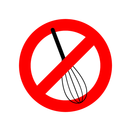 Stop Corolla Kitchen Utensils. Do Not Beat. Red Prohibition Sign. Ban Mix  Stock