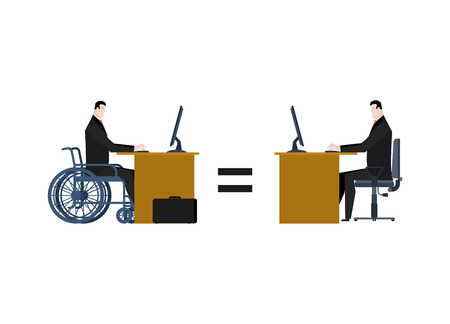 coworker: disabled at work. manager on wheelchair at table. Equal rights for people with disabilities Illustration