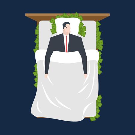 Uomo d'affari a dormire in letto di denaro. Denaro sotto cuscino. ricco uomo dorme su dollari. il gestore riposa. Il sonno di lavoro