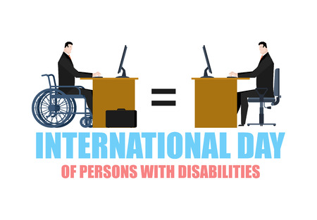 paraplegico: International Day of Persons with Disabilities. disabled at work. manager on wheelchair at table. Equal rights for people with disabilities Vectores