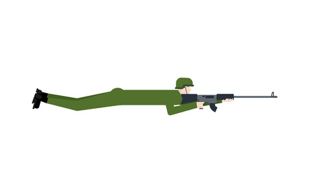 Sniper lies with rifle. Soldier in ambush isolated Illustration