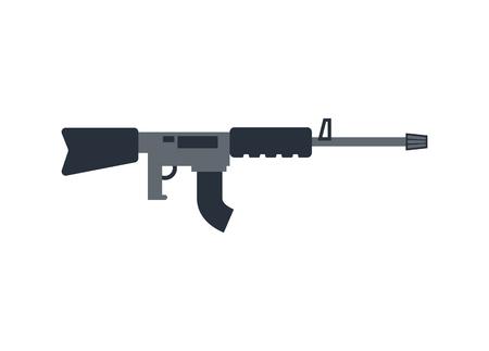 Machine gun isolated. Military rifle on white background. Weapons Illustration