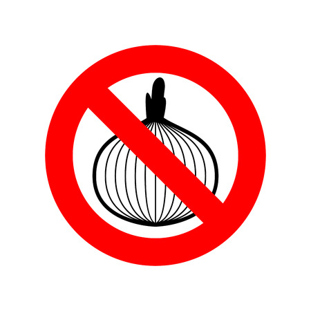 indicate: Stop onion. acute smell is forbidden. Red prohibitory sign