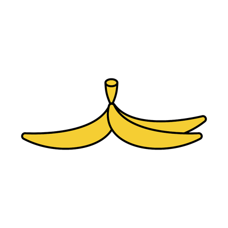 trash danger: Banana peel isolated. Banana Skin Style Outline