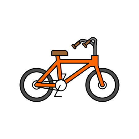 Bicycle isolated outline style. BMX linear style on white background