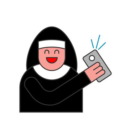 catholicism: Nun of Selfie. Catholic religious woman photographed on phone