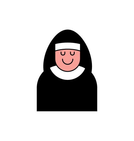 preacher: Nun icon contour style. Catholic Religious woman linear style. Illustration