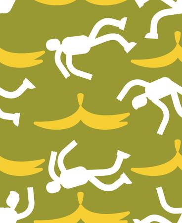 Fall on banana seamless pattern. Slip on banana peel background. guy flopped ornament. Man fell texture
