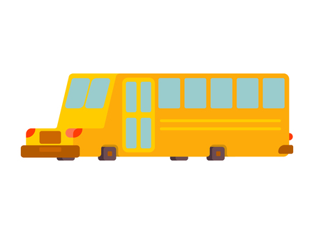automobile door: School bus isolated. Yellow bus for transportation of children Illustration