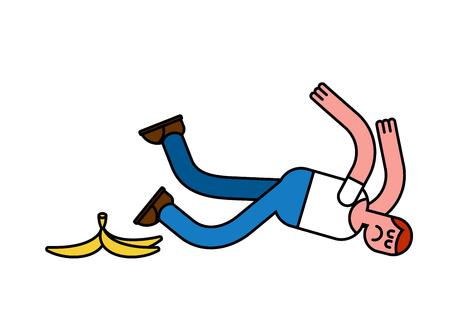 trash danger: Fall on banana. Slip on banana peel. guy flopped. Man fell