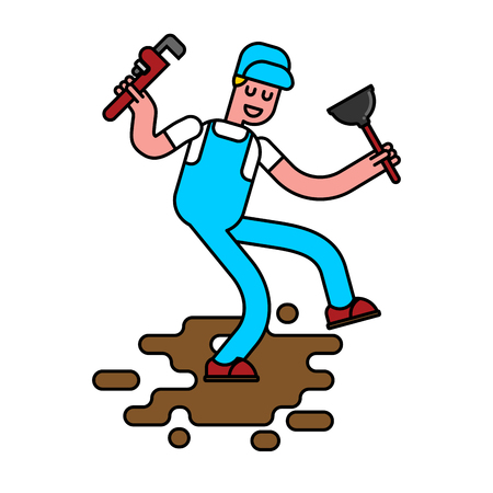Plumber with wrench and plunger contour style. plumber goes through dirty puddle of shit linear style. Working specialty