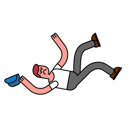 slip homme: Le gars tombe isolé. L'homme tombe. Douleur et mécontentement