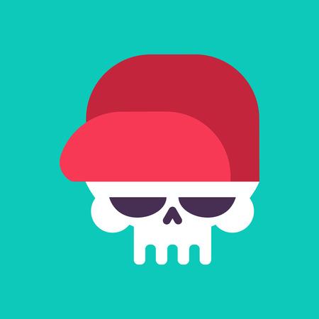 Skull in baseball cap vector