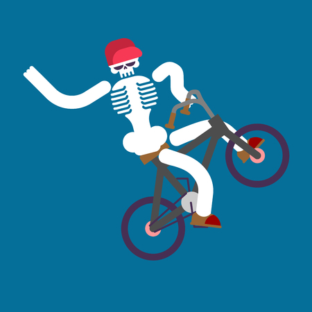 Skeleton on bicycle vector