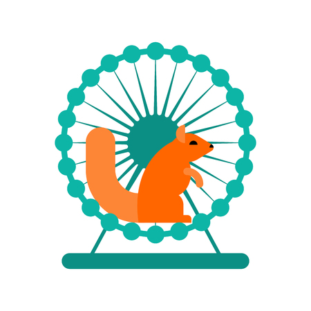 workday: Squirrel in wheel vector Illustration
