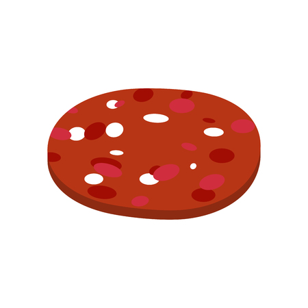 Piece of sausage isolated. Slice of salami on white background Illustration