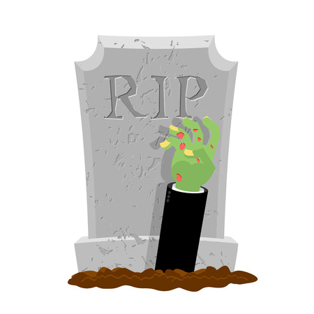 rising dead: Halloween. Grave and hand of zombie. Gravestone and arm dead man. Illustration for terrible holiday.