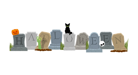 Halloween. Grave and hand of zombie. Black cat and skull. Sinister Pumpkin. Gravestone in cemetery. Illustration for terrible holiday