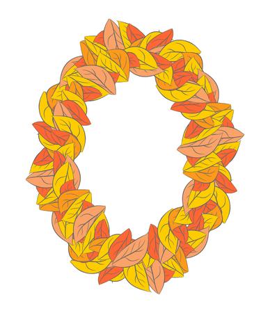 Autumn ellipse frame isolated. Yellow leaves background Illustration