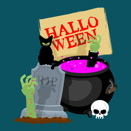 Halloween template. Pot with magical potion and hand of zombie. grave and arm green corpse. Illustration for terrible holiday