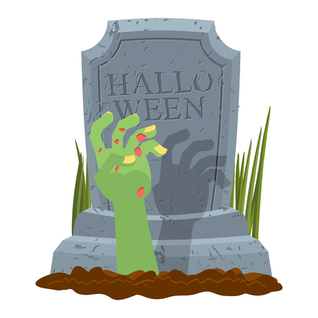Halloween. Grave and hand of zombie. Gravestone and arm dead man. Illustration for terrible holiday Illustration