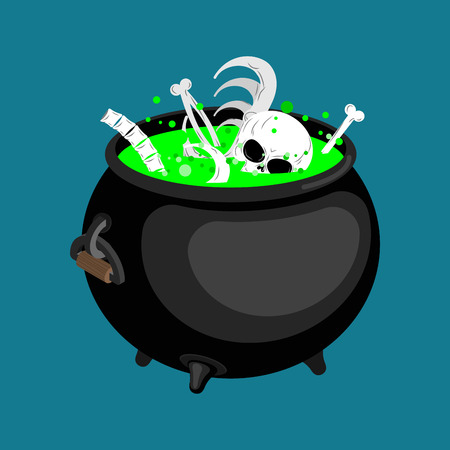 Pot with magical potion and bones and skull. Witch accessory. Halloween illustration.