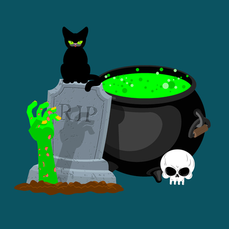 tombstones: Halloween template. Pot with magical potion and hand of zombie. grave and arm green corpse. Illustration for terrible holiday