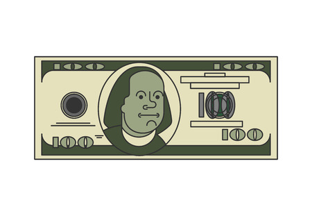 100 Dollar linear Linear style. USA money. American currency