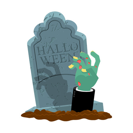 Halloween. Grave and hand of zombie. Gravestone and arm dead man. Illustration for terrible holiday.