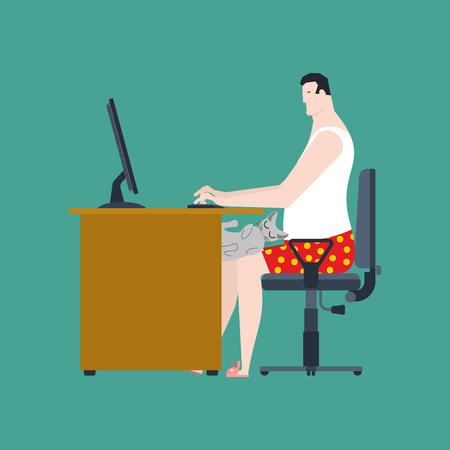 테이블에서 일하는 프리랜서. 원격 작업. 컴퓨터와 고양이 직업 책상. 벗은 남자 속옷 집에서 PC로 일하고 있습니다. 벡터 일러스트 레이 션
