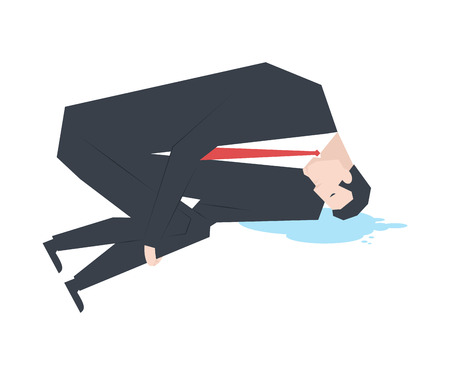 Businessman is crying. boss and puddle of tears. Vector illustration