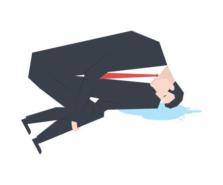 Zakenman huilt. baas en plas van tranen. Vector illustratie Stock Illustratie