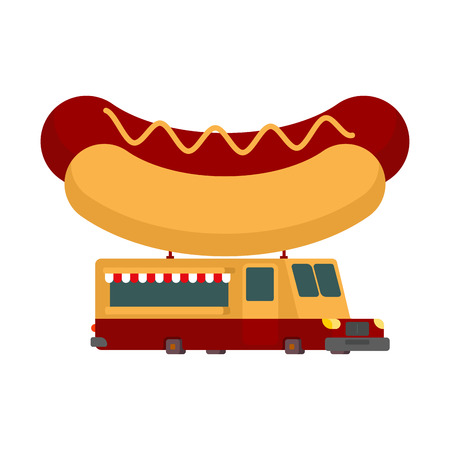 hot dog: Hot dog car food truck. Fast food car. Vector illustration