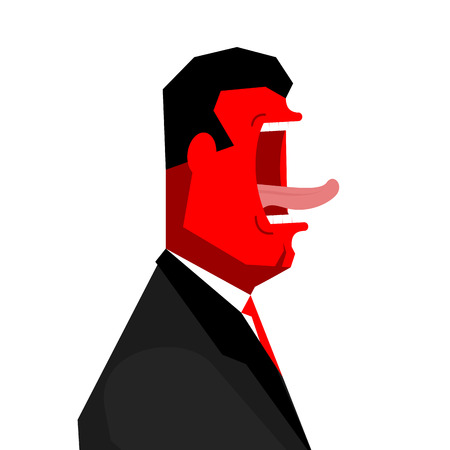 Angry Boss yelling. Office life. Businessman screaming. Vector illustration Illustration