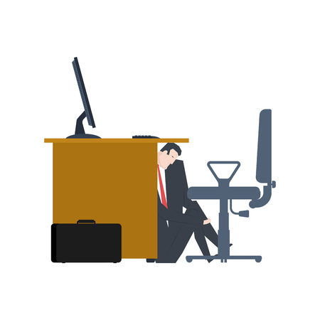 Businessman is hiding under table. manager is lurk from boss. Vector illustration Illustration
