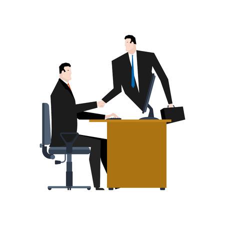 communication cartoon: Online business. Web agreement. Handshake of businessmen. Boss from PC. Vector illustration Illustration