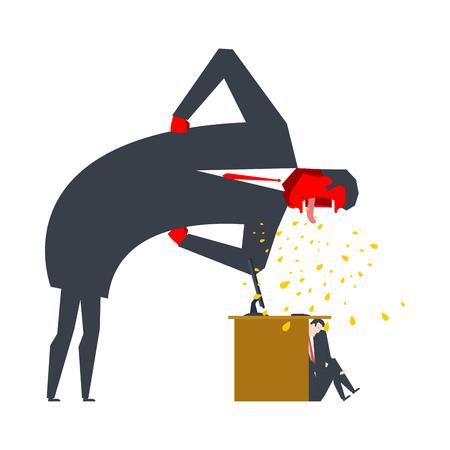 Angry Boss is een scolding manager. Kantoor leven. Zakenman schreeuwen op ondergeschikte. Desktop op computer. Straf op het werk. Vector illustratie